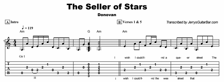 Donovan - The Seller of Stars Tab