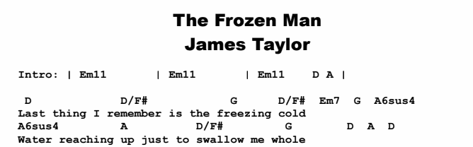 James Taylor - The Frozen Man Chords & Songsheet