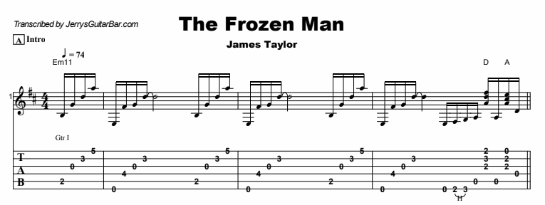 James Taylor - The Frozen Man Tab