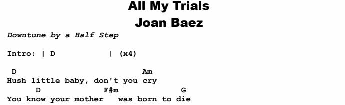 Joan Baez - All My Trials Chords & Songsheet