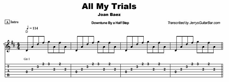 Joan Baez - All My Trials Tab