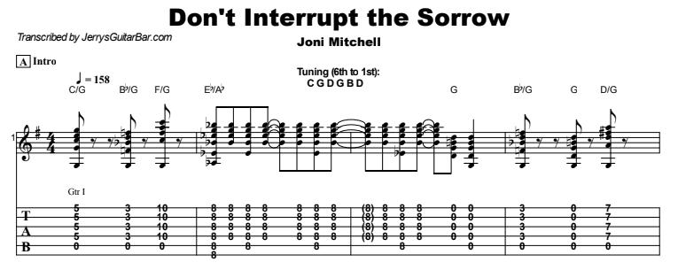 Joni Mitchell - Don't Interrupt The Sorrow Tab