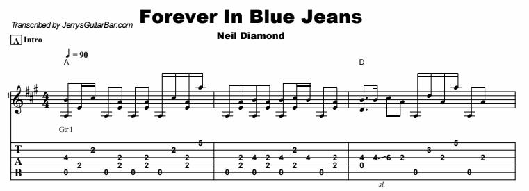 Neil Diamond - Forever In Blue Jeans Tab