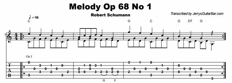 Robert Schumann - Melody Op 68 No 1 Tab