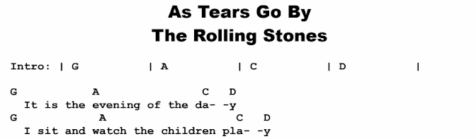 The Rolling Stones - As Tears Go By Chords & Songsheet