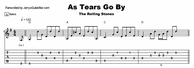 The Rolling Stones - As Tears Go By Tab