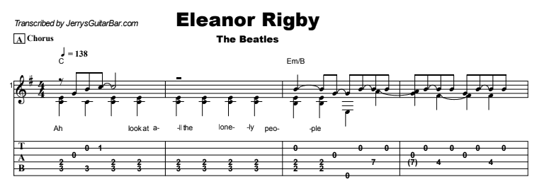 The Beatles - Eleanor Rigby Tab