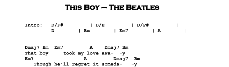 The Beatles – This Boy Songsheet & Chords