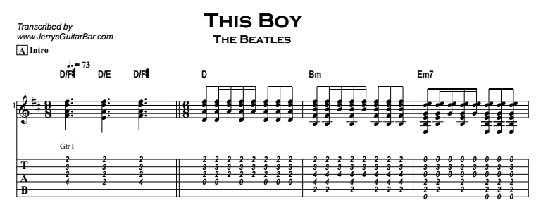 The Beatles – This Boy Tab