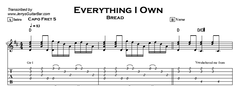 Bread - Everything I Own Tab