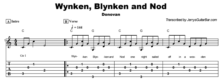 Donovan - Wynken, Blynken and Nod Tab