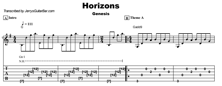 Genesis - Horizons Tab