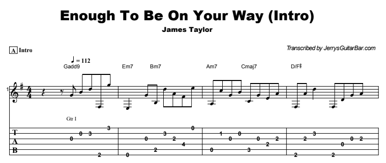 James Taylor - Enough To Be On Your Way Tab