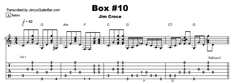 Jim Croce - Box #10 Tab
