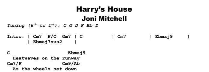 Joni Mitchell - Harry's House Chords & Songsheet