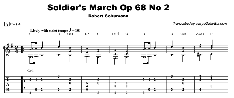 Robert Schumann - Soldier's March Op 68 No 2 Tab