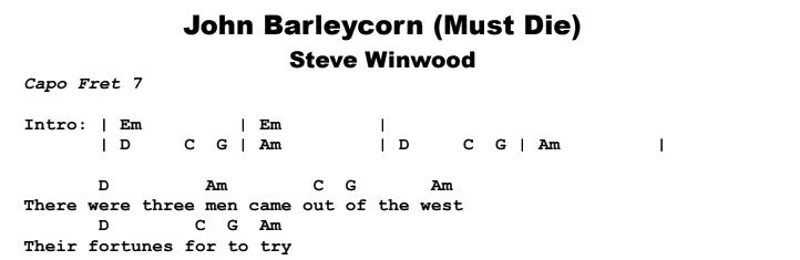 Steve Winwood - John Barleycorn (Must Die) Chords & Songsheet