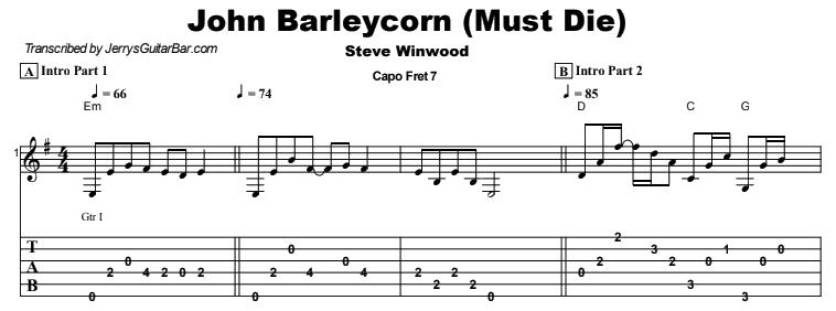 Steve Winwood - John Barleycorn (Must Die) Tab