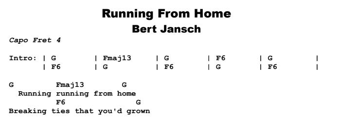 Bert Jansch - Running From Home Chords & Songsheet