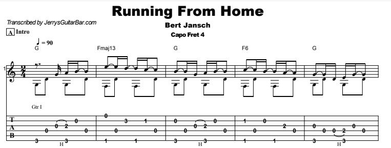 Bert Jansch - Running From Home Tab