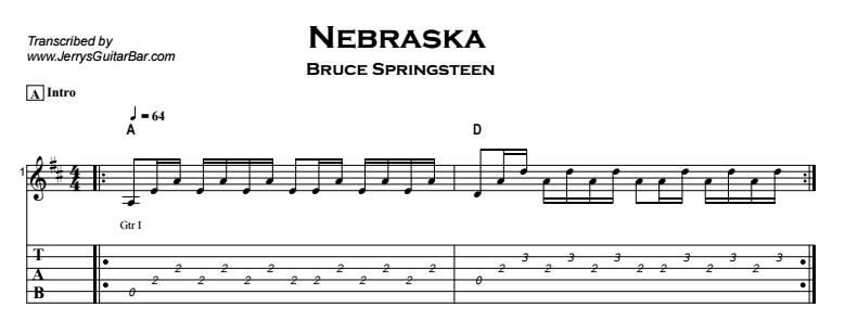 Bruce Springsteen - Nebraska Tab