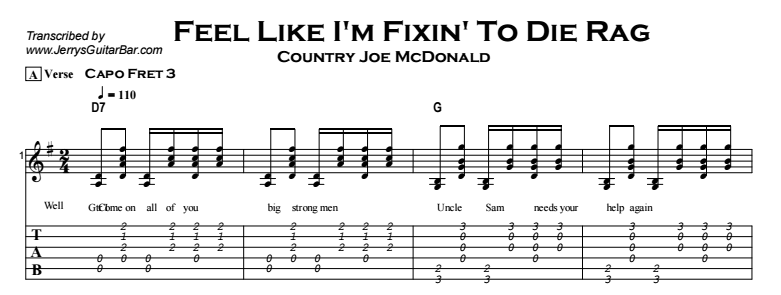 Country Joe McDonald - Feel Like I'm Fixin' To Die Rag Tab