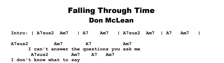 Don McLean - Falling Through Time Chords & Songsheet