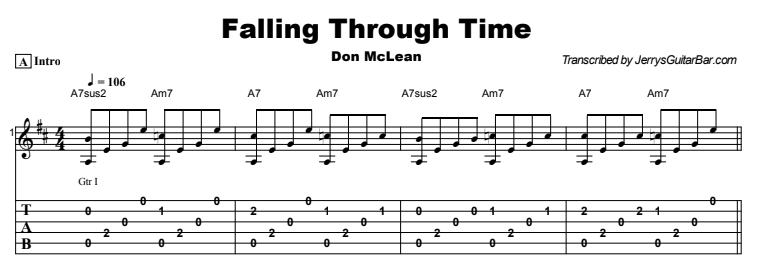 Don McLean - Falling Through Time Tab