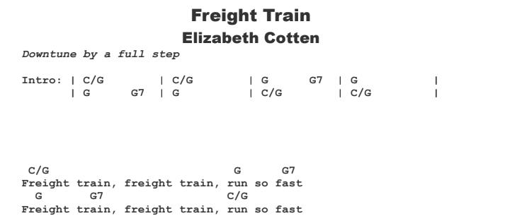 Elizabeth Cotten - Freight Train Chords & Songsheet