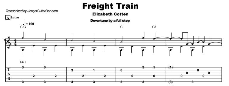 Elizabeth Cotten - Freight Train Tab