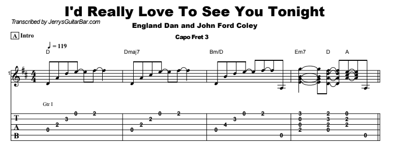 England Dan and John Ford Coley - I'd Really Love To See You Tonight Tab