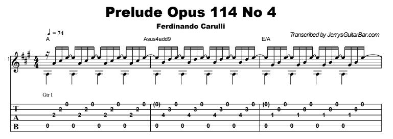 Ferdinando Carulli - Prelude Op 114 No 4 Tab