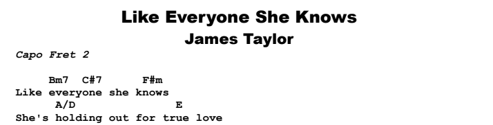 James Taylor - Like Everyone She Knows Chords & Songsheet