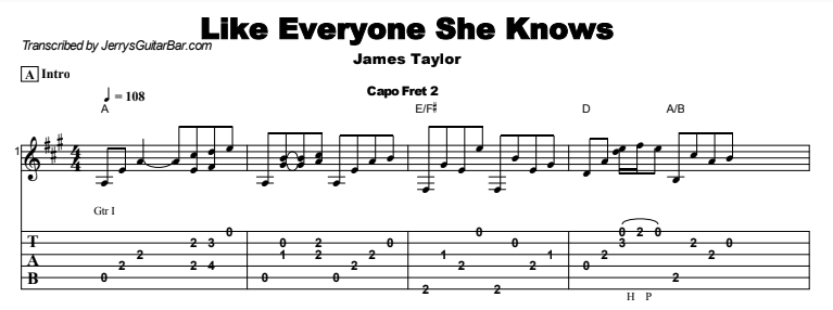 James Taylor - Like Everyone She Knows Tab