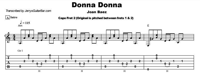Donna Donna | Guitar Lesson, Tab & Chords | Jerry\'s Guitar Bar