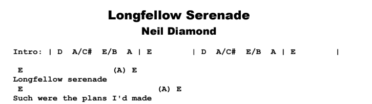 Neil Diamond - Longfellow Serenade Chords & Songsheet