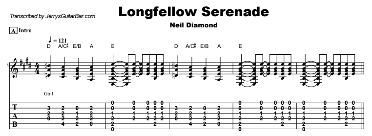 Neil Diamond - Longfellow Serenade Tab
