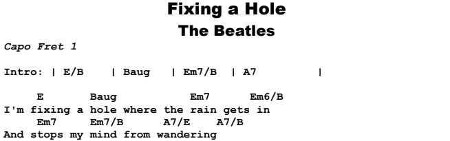 The Beatles - Fixing a Hole Songsheet & Chords
