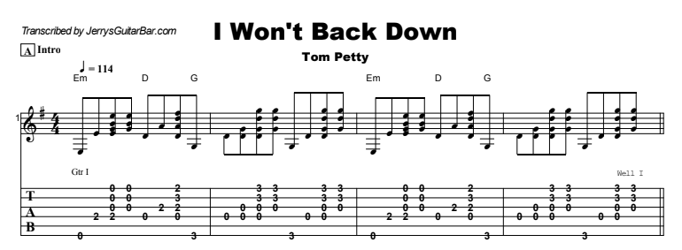 Tom Petty - I Won't Back Down Tab