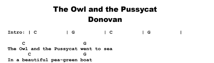 Donovan - The Owl and the Pussycat Chords & Songsheet