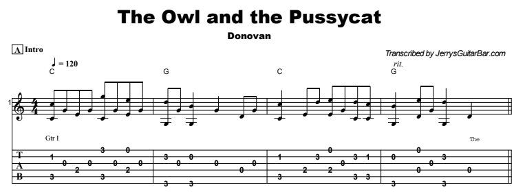 Donovan - The Owl and the Pussycat Tab