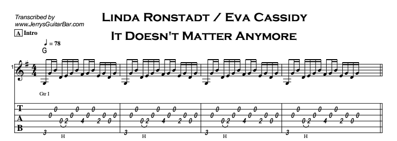 Eva Cassidy - It Doesn't Matter Anymore Tab