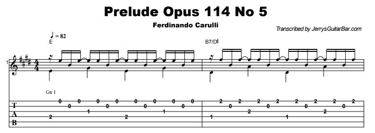 Ferdinando Carulli - Prelude Op 114 No 5 Tab