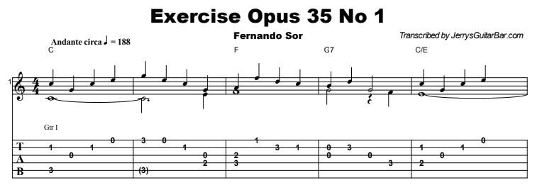 Fernando Sor - Exercise Opus 35 No 1 Tab