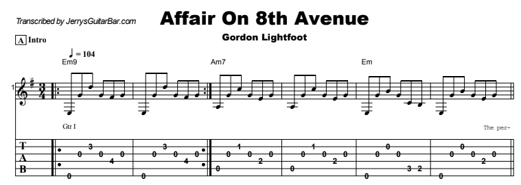 Gordon Lightfoot - Affair On 8th Avenue Tab