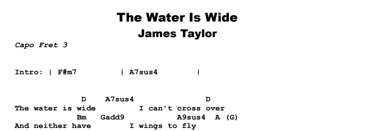 James Taylor - The Water is Wide Chords & Songsheet Preview