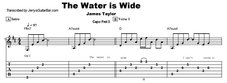 James Taylor - The Water is Wide Tab