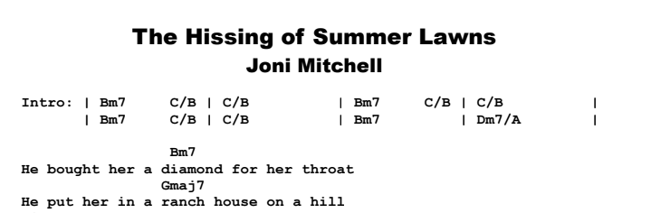 Joni Mitchell - The Hissing of Summer Lawns Chords & Songsheet