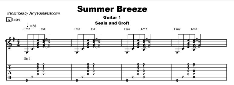 Seals and Croft - Summer Breeze Tab