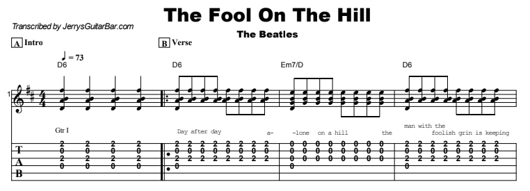 The Beatles - The Fool On The Hill Tab